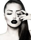 Black and White Brunette Girl Portrait. Trendy Caviar Manicure — Stock Photo