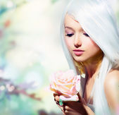 Beautiful Spring Girl With Rose Flower. Fantasy — Stock Photo