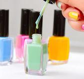 Nail Polish. Manicure. Colorful Nail Polish Bottles — Stock Photo
