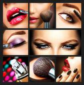 Collage di trucco. dettagli di make-up professionale. rifacimento — Foto Stock