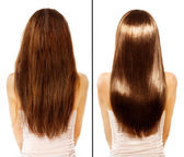 Before and After Damaged Hair Treatment — 图库照片