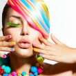 Beauty Girl Portrait with Colorful Makeup, Hair and Accessories — Stock Photo #35709745