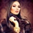 Stock Photo: Beauty Fashion Model Girl in Mink Fur Coat