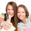 Students Portrait. Cute Attractive Teenage Girls Holding Books — Stock Photo