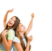 Happy Teenage Girls Dancing. Beauty Teenagers Having Fun — Stock Photo