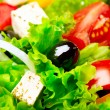 Greek Salad with Feta Cheese, Tomatoes and Olives — Stock fotografie