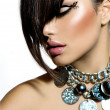 Stock Photo: Fashion Glamour Beauty Girl With Stylish Hairstyle and Makeup