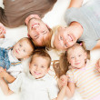 Happy Big Family Together on White Background — Stock Photo