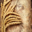 Wheat Ears on the Wood. Wooden Background  — Stock Photo