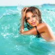 Beauty Sexy Model Girl Swimming and Posing in the Sea  — Stock Photo