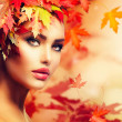 Autumn Woman Portrait. Beauty Fashion Model Girl — Stock Photo