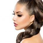 Hair Braid. Beautiful Woman with Healthy Long Hair — Stock Photo