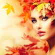 Autumn Woman Portrait. Beauty Fashion Model Girl — Stock Photo #35710565