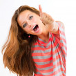 Happy Teen Girl showing Thumbs up isolated one white — Stock Photo