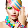 Beauty Girl Portrait with Colorful Makeup, Hair and Accessories — Stock Photo #35710645