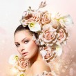 Fashion Beauty Model Girl with Flowers Hair. Bride — Stock Photo