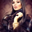 Beauty Fashion Model Girl in Mink Fur Coat — Stock Photo