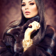 Beauty Fashion Model Girl in Mink Fur Coat — Stock Photo #35710847