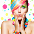 Beauty Girl Portrait with Colorful Makeup, Hair and Accessories — Photo