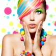 Beauty Girl Portrait with Colorful Makeup, Hair and Accessories — Stock Photo