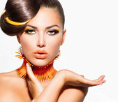 Fashion Model Girl Portrait with Yellow and Orange Makeup — Stock Photo