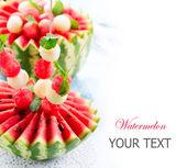 Watermelon. Fresh and Ripe Watermelon and Melon Balls — Stock Photo
