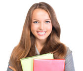 Student Girl Portrait. Teenage Girl Holding Exercise Books — Stock Photo