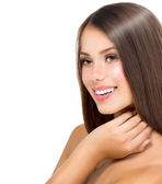 Beautiful Teenage Model Girl Touching her Fresh and Clean Skin — Stock Photo