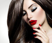Sexy Beauty Girl with Red Lips and Nails. Provocative Make up — Zdjęcie stockowe