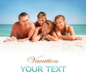 Happy Family Having Fun at the Beach. Vacation concept — Stock Photo