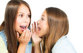 Gossip. Two Teenage Girls Speaking and Sharing Secrets — Photo