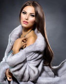 Beauty Fashion Model Girl in Blue Mink Fur Coat — Stock Photo