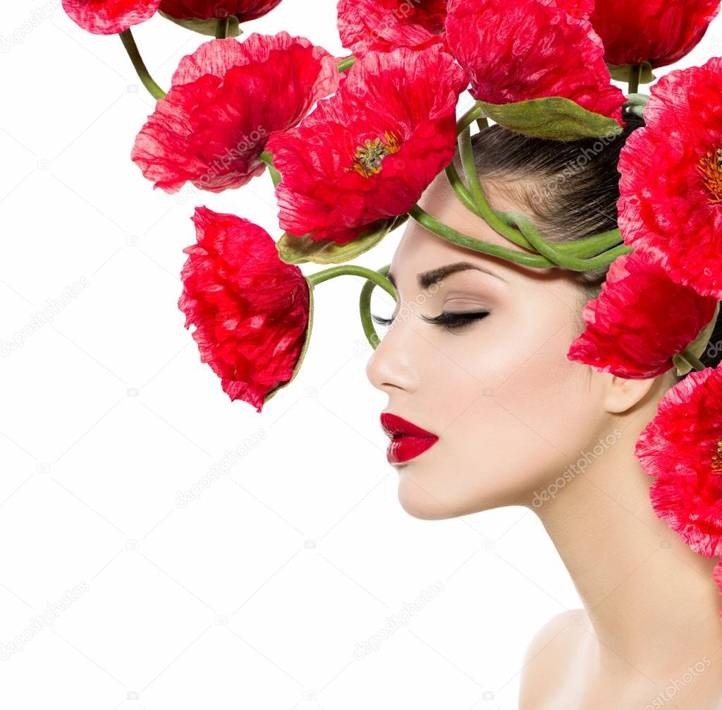 Фотообои Красота мода модель женщина с красными цветами Мака в волосах