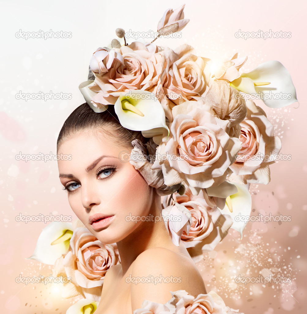 Fashion beauty model girl with flowers hair bride stock Ciaafrique fashion beauty style