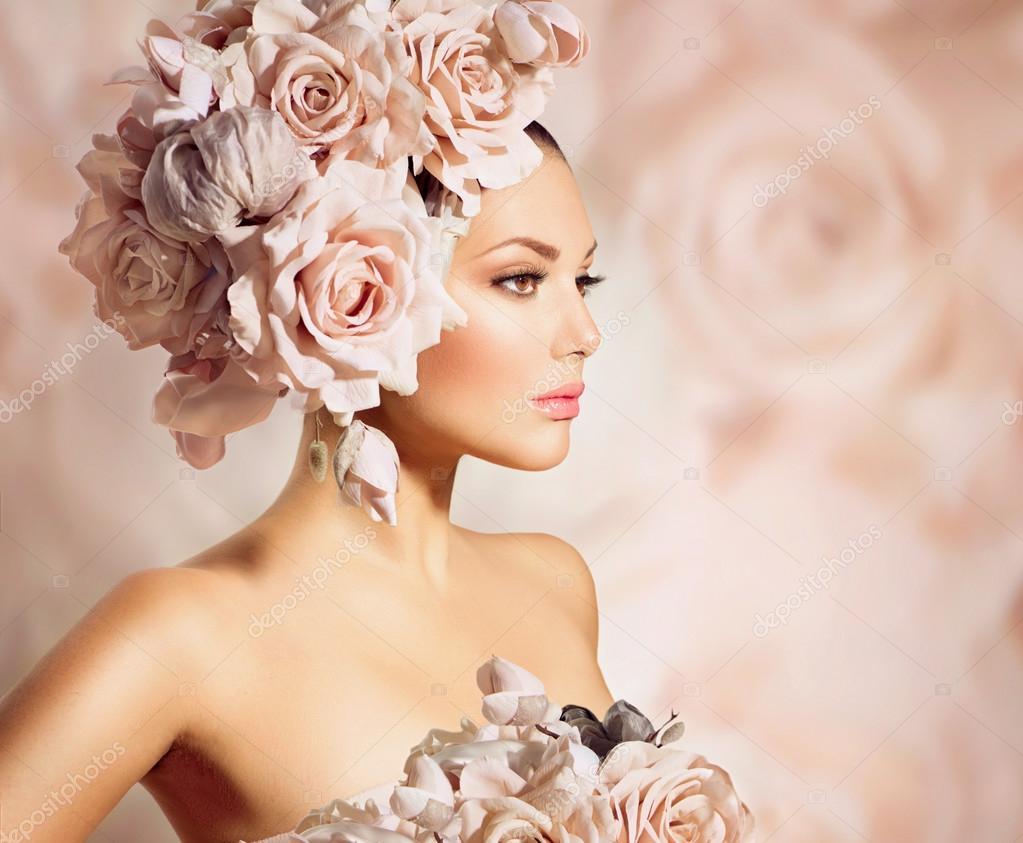 Fashion Beauty Hair: Fashion Beauty Model Girl With Flowers Hair. Bride
