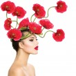 Beauty Fashion Model Woman with Red Poppy Flowers in her Hair — Stock Photo #36297385