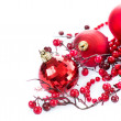Christmas Baubles and Decoration isolated on White — Stock Photo