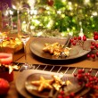 Christmas And New Year Holiday Table Setting. Celebration — Стоковая фотография