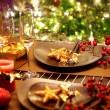 Christmas And New Year Holiday Table Setting. Celebration — Stock Photo