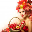 Beauty Autumn Woman with Ripe Red Organic Apples — 图库照片