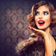 Retro Woman Portrait. Surprised Lady. Vintage Styled Photo — Stock Photo