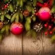 Christmas Tree and Decorations Over Wooden Background — Stok Fotoğraf #36297145