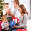 Christmas Big Family with Children near the Christmas Tree — Stock Photo