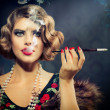 Smoking Retro Woman Portrait. Beauty Girl with Mouthpiece — Стоковая фотография