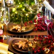 Christmas And New Year Holiday Table Setting. Celebration — Foto Stock