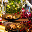 Christmas And New Year Holiday Table Setting. Celebration — Stok fotoğraf