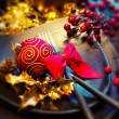 Christmas and New Year Holiday Table Setting. Celebration — Stock Photo #36297255