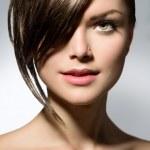 Stylish Fringe. Teenage Girl with Short Hair Style — Stock Photo