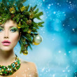 Christmas Woman. Christmas Tree Holiday Hairstyle and Makeup — Stock Photo