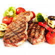 Grilled Beef Steak with Vegetables over White Background  — Foto de Stock